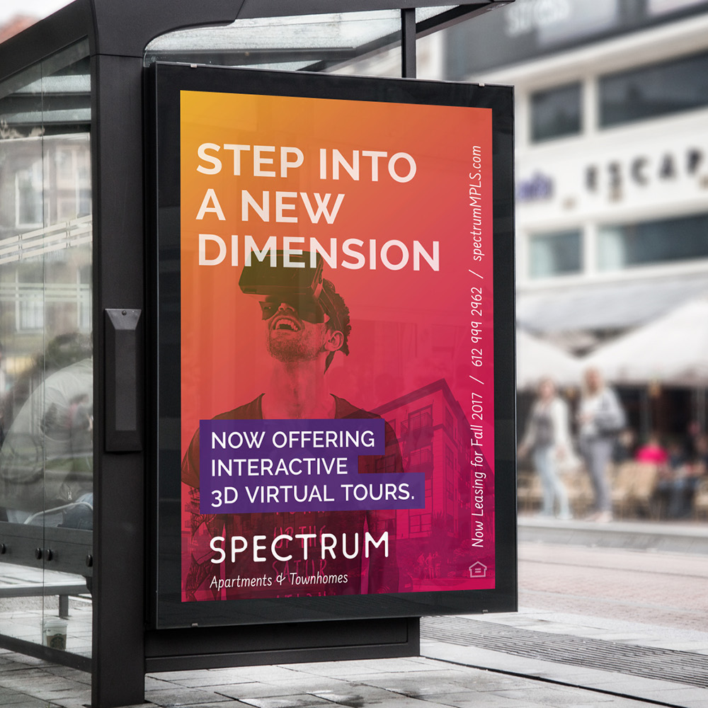 Spectrum bus stop sign