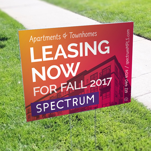 Spectrum now leasing yard sign