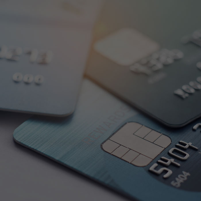 Close up image of several credit cards