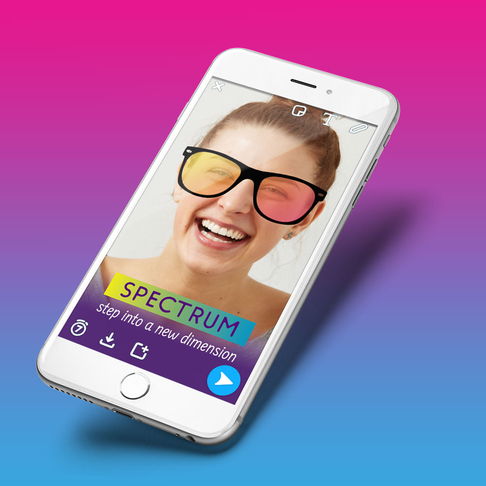 Mobile Phone with Spectrum Apartments Snapchat Filter displayed