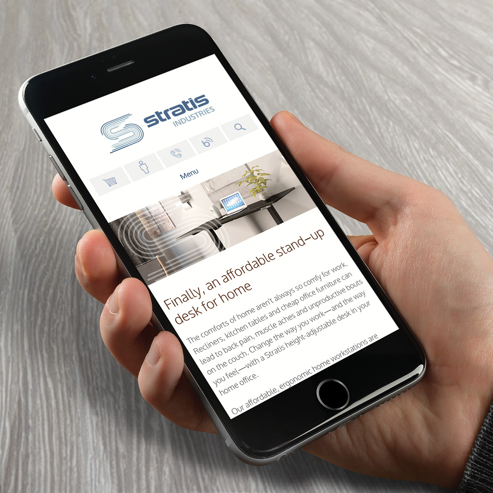 Stratis Industries website displayed on mobile a phone
