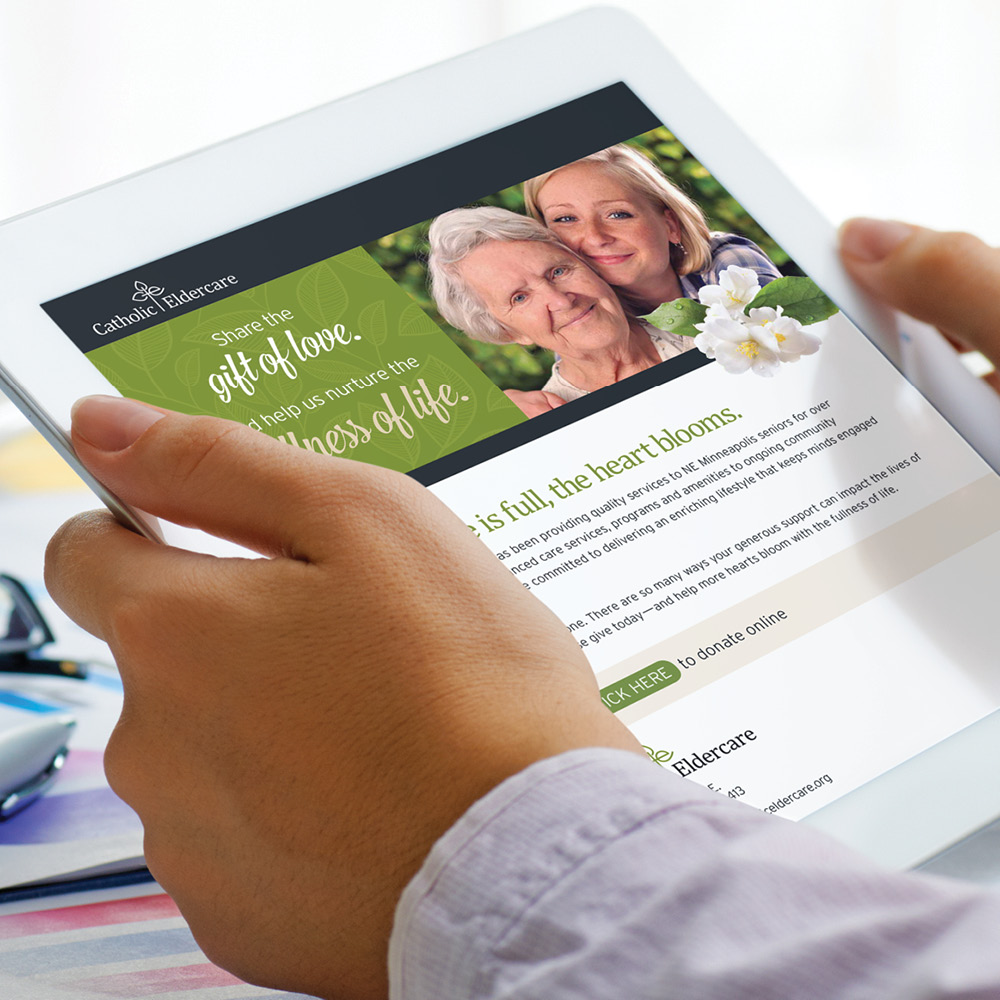 Catholic Eldercare website on a tablet